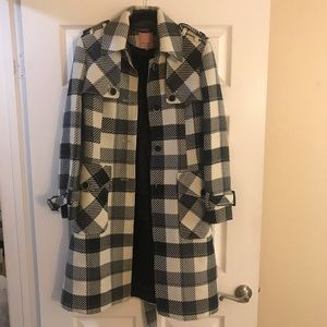 TED BAKER Wool Buffalo Check Coat - Size 3